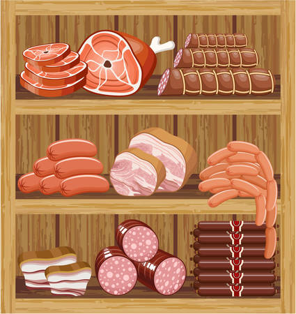 Shelfs with meat products. Meat market. vector