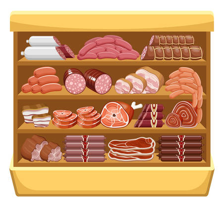 veal: Meat market. vector