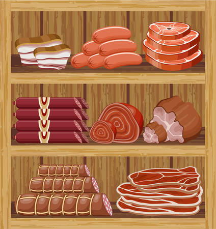 fillet steak: Shelfs with meat products. Meat market. vector  Illustration