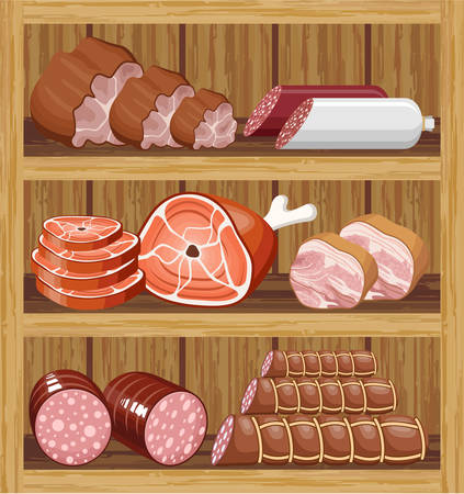 veal sausage: Shelfs with meat products. Meat market. vector  Illustration