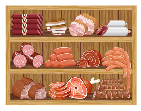 veal sausage: Meat market. vector