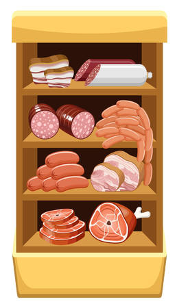 shelfs: Shelfs with meat products. Meat market. vector