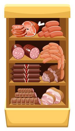 Les régiments avec des produits à base de viande. Marché de la viande. vecteur