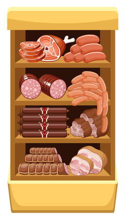 Shelfs with meat products. Meat market. vector  Vector