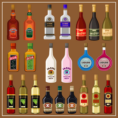 balsam: Set alcoholic beverages. vector