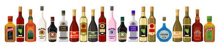 alcoholist: Banner alcoholische dranken. vector Stock Illustratie