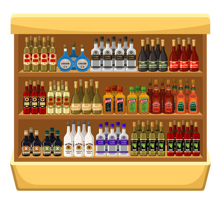 Shop alcoholic beverages. vector