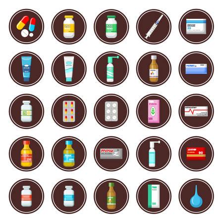 medicament: Medicament. Set of icons. Vector illustration