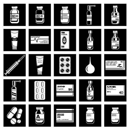 medicament: Set of medicament symbols.Vector illustration Illustration