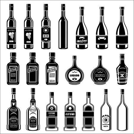 bouteille champagne: Ensemble de bouteilles d'alcool Vector illustration