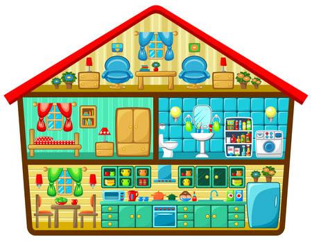 innen: Cartoon Haus in einer geschnittenen Vektor-Illustration Illustration