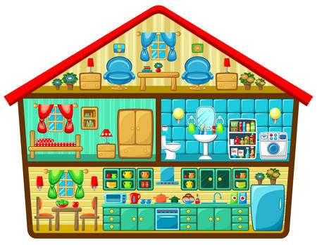 Cartoon house in a cut  Vector illustration Çizim