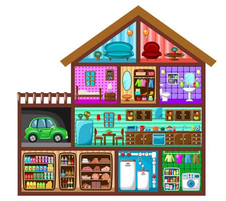 House in a cut. Vector illustration Illustration