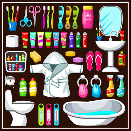 toothpaste tube: Bathroom equipment set. Vector illustration Illustration