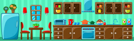 kitchen studio: Kitchen interior. Vector illustration