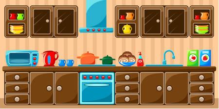 キッチンのインテリア。ベクトル イラスト