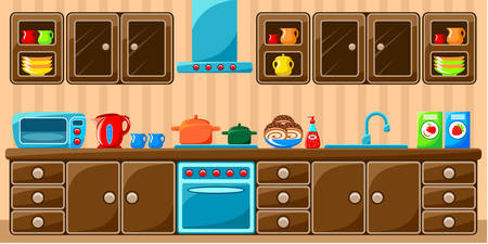kitchen studio: Kitchen interior.  Vector illustration Illustration