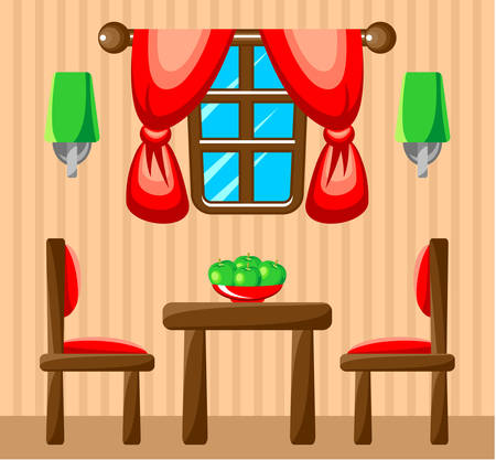 Dining room interior. Vector illustration Vector