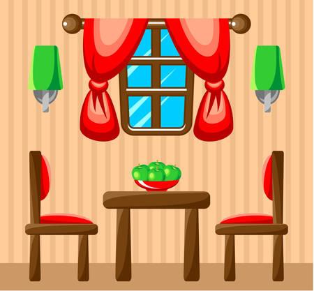 classic living room: Dining room interior. Vector illustration
