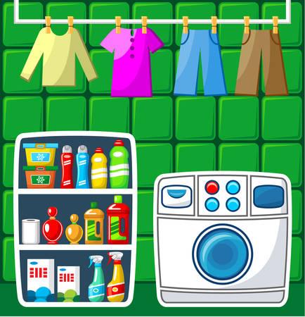 lavadora con ropa: Lavadero. Ilustración vectorial Vectores