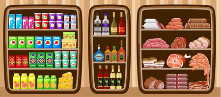 cereal box: Supermarket. Shelfs with food. Vector illustration