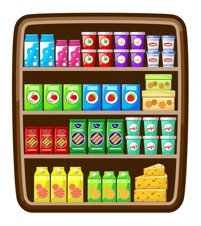 Supermarket. Shelfs with food. Vector illustration