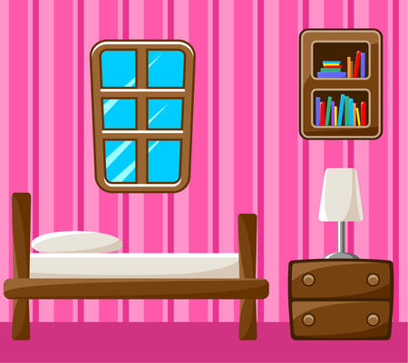 bedroom wall: Bedroom. Interior. Vector illustration