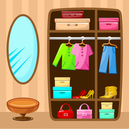 shirts on hangers: Wardrobe room. Furniture. Vector illustration