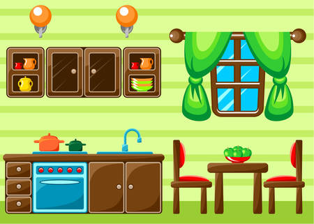 Kitchen interior. Vector illustration Vector