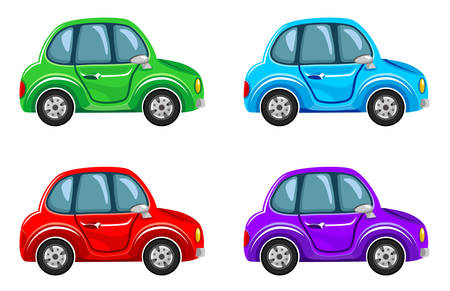 purple car: Cartoon cars.  Vector illustration