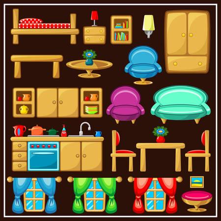 cooking book: Set of furniture. Vector illustration Illustration