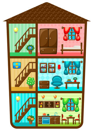 sectional: Sectional image of a house with interior elements. Vector illustration