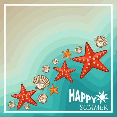 Summer beach set. Vector illustration Illustration