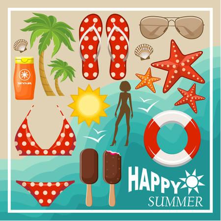Summer beach set. Vector illustration Vector