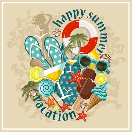 summer season: Summer beach set.Vector illustration