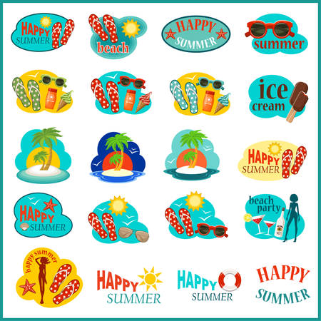 Beach icon set. Vector illustration Vector