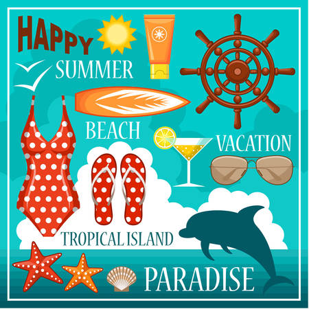 flops: Image of a set of icons for a beach theme and travel