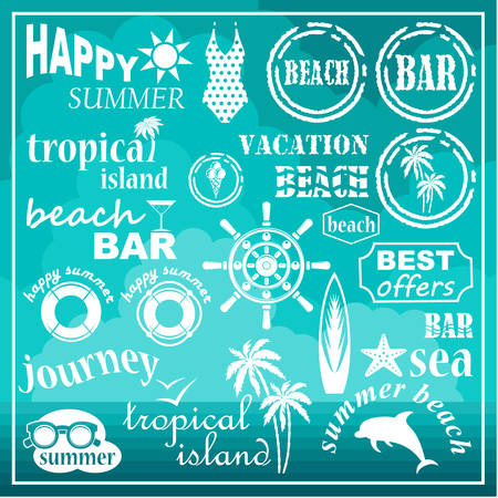 hawaii islands: Image of a set of icons for a beach theme and travel.