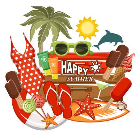 flops: Summer beach set. Vector illustration Illustration