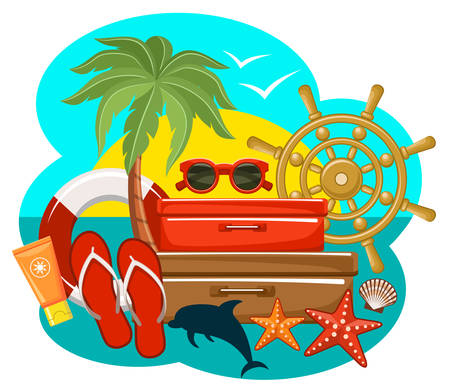 Summer beach set. Vector illustration Vector