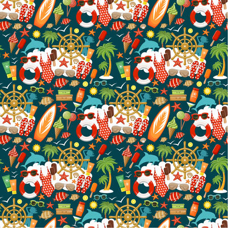 Seamless beach pattern Illustration