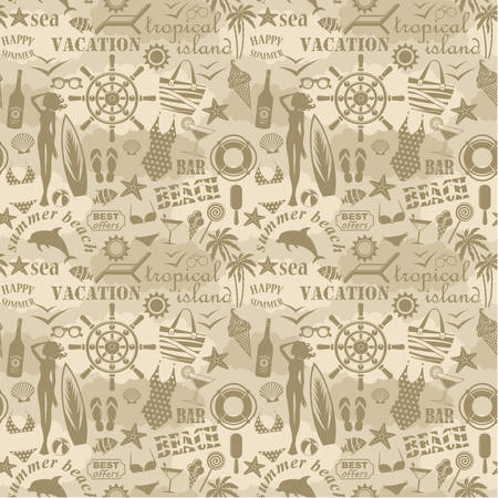 Seamless beach pattern 矢量图像