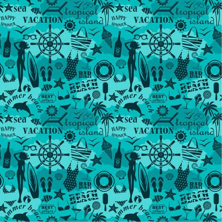 Seamless beach pattern Stock Illustratie