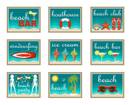 flops: Beach set icons Illustration