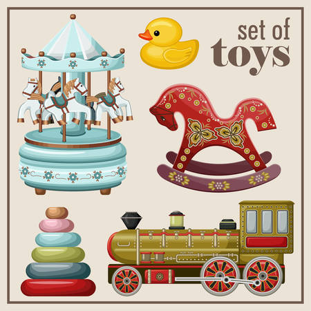 Ensemble de jouets vintage. Vector illustration
