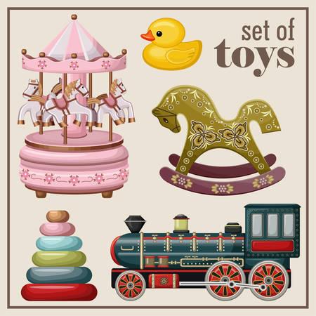 juguetes antiguos: Conjunto de juguetes antiguos. Ilustración vectorial