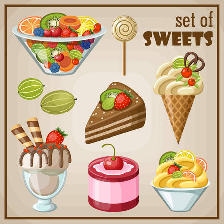 souffle: Set of sweets.Vector illustration