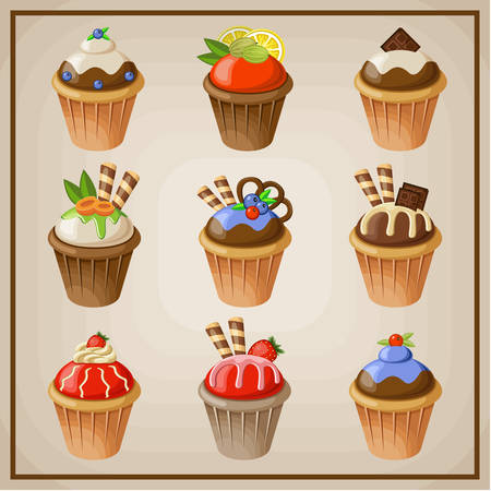 blueberry pie: Set of cupcakes illustration Illustration