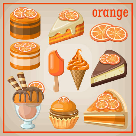 Set of sweets with an orange. vector illustration Vector