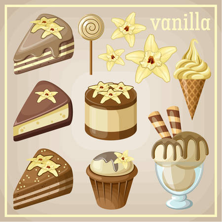Set of sweets vanilla. vector illustration Vector